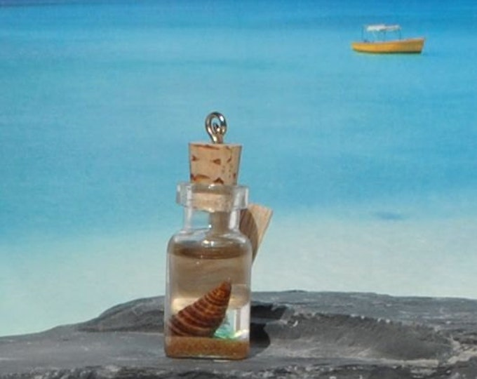 Ormond Beach Sand, Sea Glass and Shell in Miniature Bottle