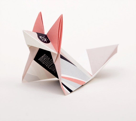 Rose fox: Pack of three origami foxes with pattern print, folded and packed