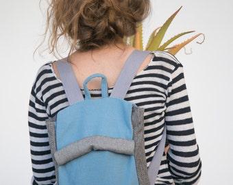 Blue Laptop Backpack, Blue Backpack, Canvas Backpack, Vegan Backpack, Fabric Backpack, Blue Rucksack, School Backpack, Back to School