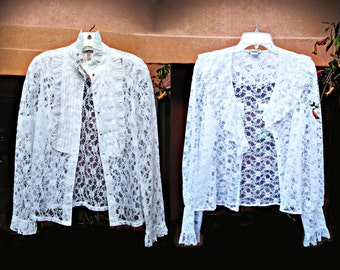 Late 1980s-Early 90s Ultra Sheer Alice Stuart Lace Blouse, Choose Pleated Front Button or V-Neck Collared Style, Made in the USA, Size M