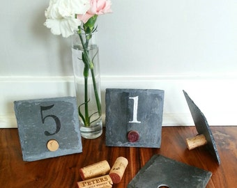 4x4 Stand-alone Wine Cork Slate Table Numbers -  Wedding, Engagement Party, Dinner Party, Fundraiser