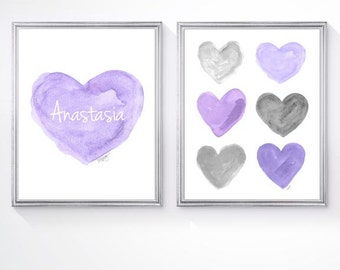 Purple and Gray Nursery, Set of 2 - 8x10 Watercolor Prints, Purple and Gray Decor,Lavender and Gray Nursery Decor,Lilac and Gray Nursery Art