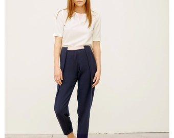 Navy Pleated Pants / High Waisted Pants / Trendy Pants / Navy Capri Pants / Women's Trousers / Casual Navy Pants / Easy to Care