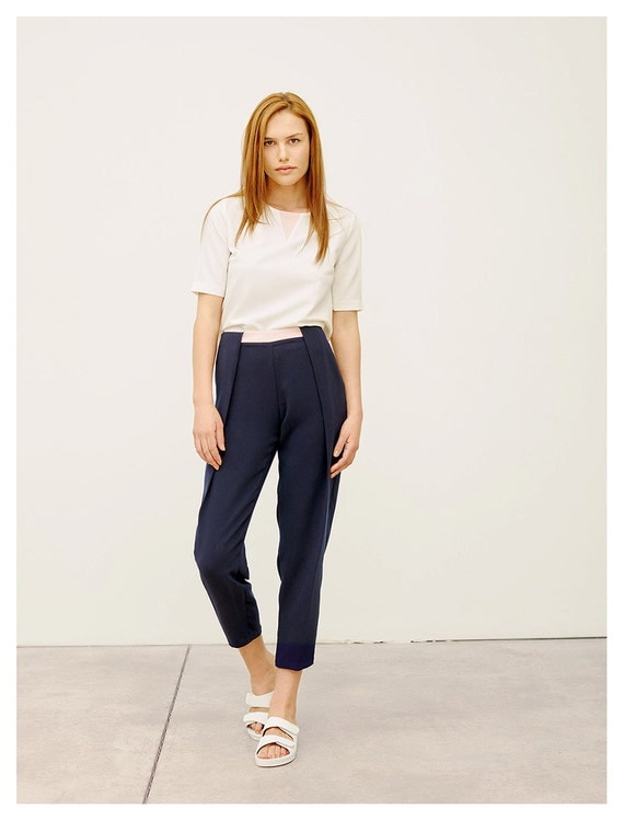 Navy Pleated Pants / High Waisted Pants / Trendy Pants / Navy