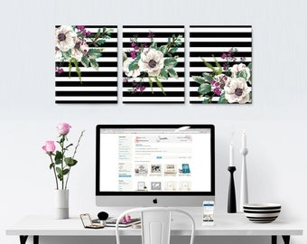 Office Canvas Art - Set of Three Striped Floral Canvases - Stretched, Ready to Hang Wall Decor - Black & White Stripes - SKU: 374C