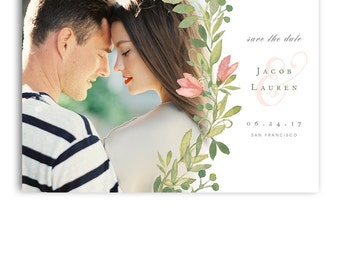 Save The Date Template - Wedding Engagement Announcement Card - JACOB & LAUREN - 1388