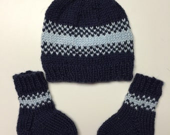 Navy and Light Blue Striped Baby Hat and Socks