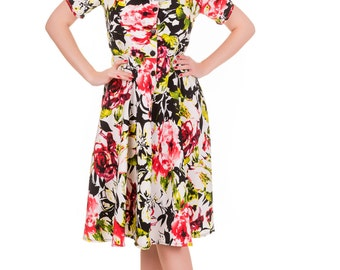 40s / 50s inspired shirt dress, in a hawaiian style floral print with black buttons, gorgeous drape peachskin fabric