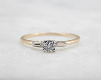Small But Sweet: Vintage Diamond Engagement Ring In Two Tone Gold WVTZ4X-P
