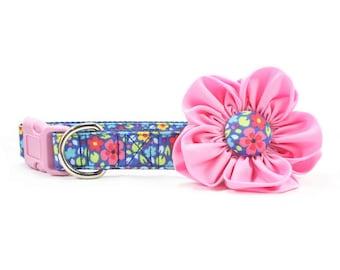 Pink Dog Flower Collar Blue Floral Dog Collar Flower Adjustable Girl - Hannah
