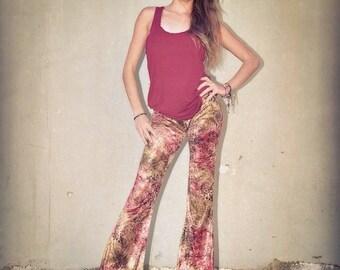 VELVET 70'S tie dye jungle print tribal velour fall fashion hippie chic boho dance yoga festival gypsy flare bell bottom pants (or leggings)
