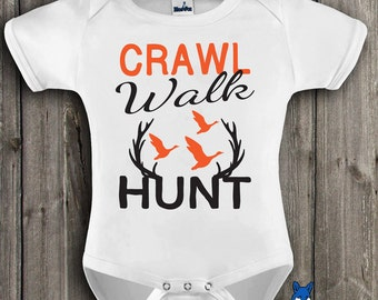 Hunting baby Clothes-Crawl Walk Hunt-Future Hunter Outfit-Hunting season-baby bodysuit-Hunting-Baby bodysuit-Blue Fox Apparel *227