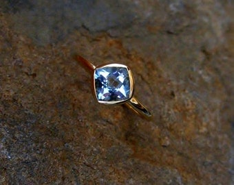 Aquamarine 14K Yellow Gold Ring, Cushion, Birthstone, Size 5.75, Ready to Ship, low profile, non traditional, engagement ring