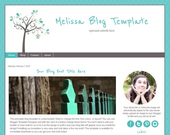 Premade Blogger Template -Teal Blog Design - Instant Download