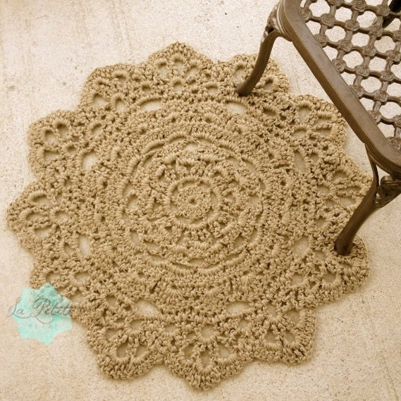 Jute Crochet Round Doily Rug 37 Flower Pattern By
