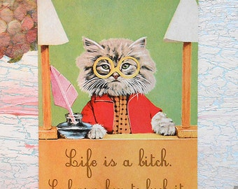 """Post card """"Cat with glases"""""""
