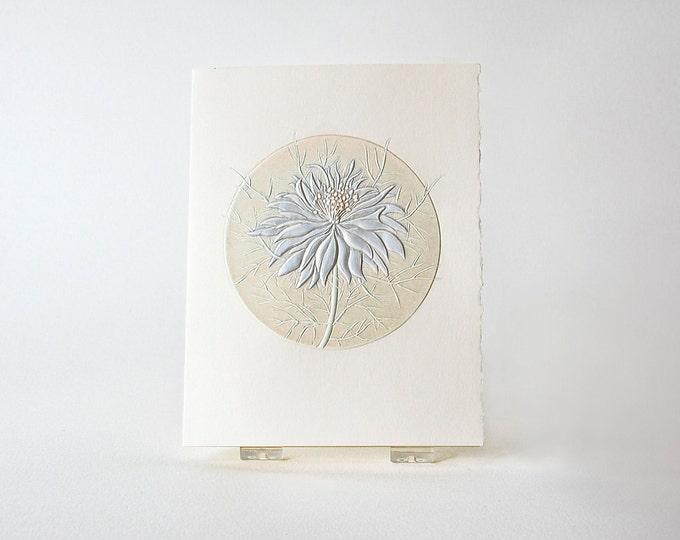 Blue Flower Card. Love In a Mist. Embossed Flower. Letterpress. Single card Blank inside.