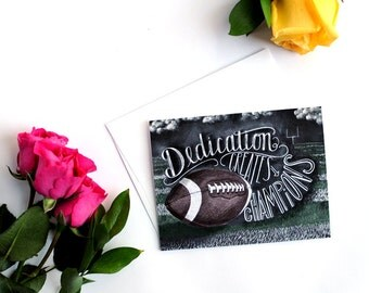 Football Card, Football Coach Gift, Motivational Quote, Chalkboard Art, Chalk, Motivational Art, Encouraging Quote, Sports Cards, Inspiring