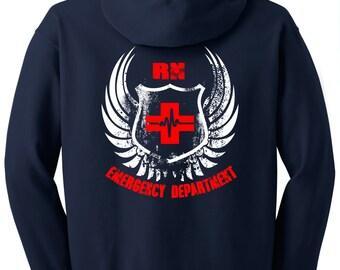 Nurse Hoodie Men's ER Full Zip Hoodie Jacket (RN)