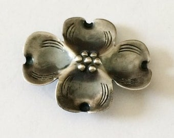 Hand Made Anodized Sterling Silver Dogwood Flower Brooch