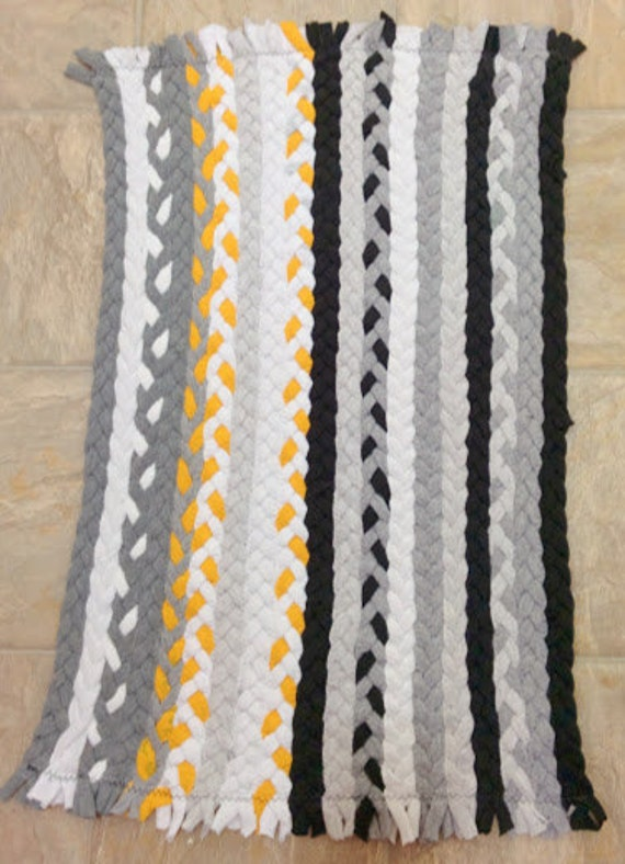 striped yellow grey black and white braided rug by likeiguana. Black Bedroom Furniture Sets. Home Design Ideas