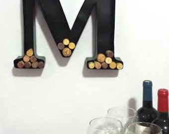 metal monogram wine cork holder wedding gift man cave decor bridesmaid gift groomsman gift