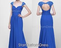 Floor length Formal Dresses Cap Sleeve Open Back Long lace and Chiffon Dress Long Bridesmaid Dress
