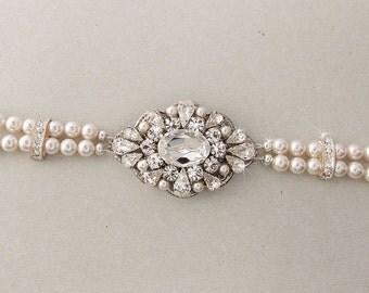 Wedding Bracelet, Bridal Bracelet, Pearl Bracelet, Swarovski Pearls, Rhinestone Bracelet, Crystal Bracelet, Vintage Style - MARLENA