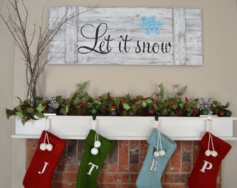 Let It Snow Wood Sign    Christmas Sign    Christmas Decor    Reclaimed Wood Sign
