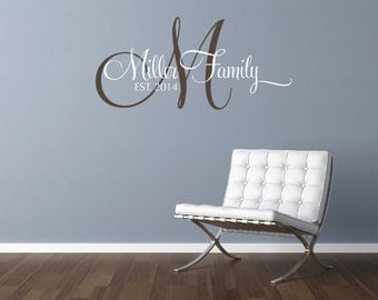 2 Color Personalized Family Name Sign Cursive Vinyl Decal Custom Wall Monogram Last Name Decal Family Name Decal