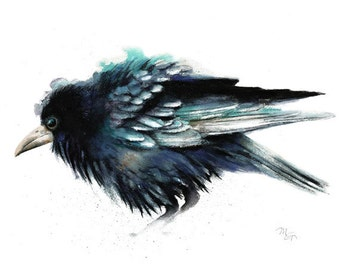 Crow painting watercolor - Giclee Print. Nature or Bird Illustration, Crow, Raven