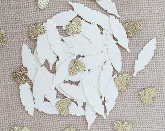 Beige Cream Gold Glitter Confetti, Wedding Confetti, Feather Confetti, Gold Bridal Shower, Baby Shower, Gold Table Decor, Party Confetti