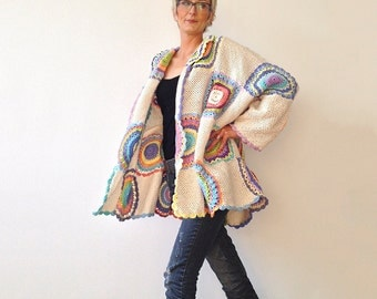 Plus Size Clothing, Plus Size Women's Cardigan Sweater Beige with Crochet Circles - MADE TO ORDER