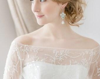 Chandelier Bridal Earrings, Vintage Crystal Earrings, Long Wedding Earrings, Freshwater Pearl Earrings , Statement Wedding Jewelry