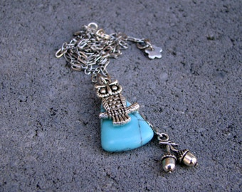 The Night Guardian Owl Turquoise Pendant Necklace