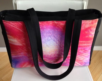 WORKOUT TOTE - Women's Zippered Gym Bag - FLORAL - Abstract Photography.   Shown in Pink Splash Image.