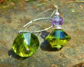 Razzle Dazzle Earrings - Big, Bold, Beautiful w Gorgeous Purple & Green Czech Glass Beads and Long Handmade Sterling Silver Ear Wires
