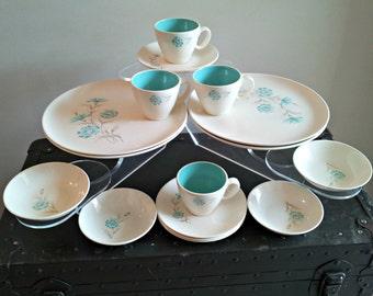 Vintage Taylor Smith & Taylor Heirloom China Dinnerware - Settings for 4 - Excellent - Boutonniere - Ever Yours U.S.A.