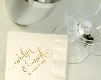 Custom Gold Foil Cocktail Napkins - Wedding Reception, Event, Shower - Choose Your Color, Beverage, Drink Size