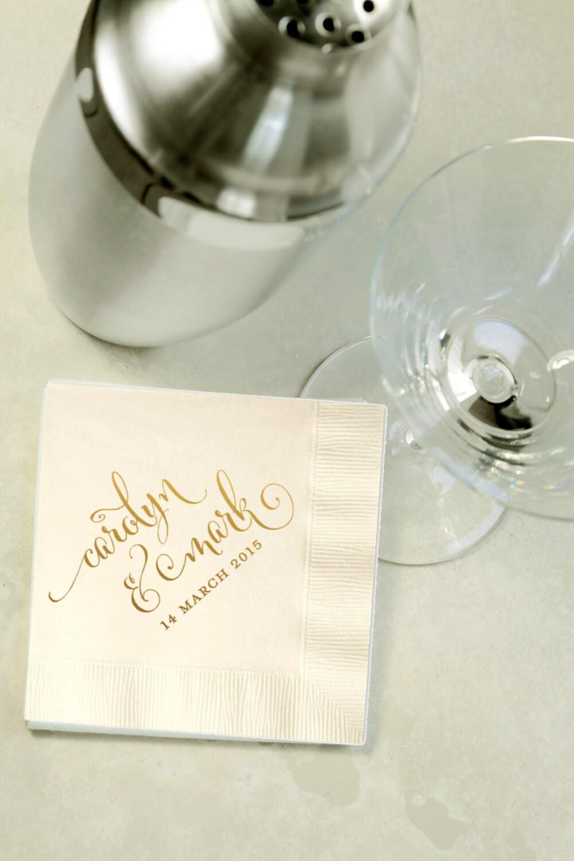 Custom Gold Foil Cocktail Napkins Wedding Reception Event