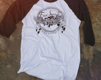 Free Spirit Shirt, SMALL, Raglan Tee, VW T shirt, Volkswagen shirt, VW Beetle, Raglan Shirt