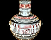 Vintage, Greek Geometric Vase, Terracotta Urn, Hand-Made, Hand-Painted, Reproduction from 900 B.C., Greek Amphora Vase