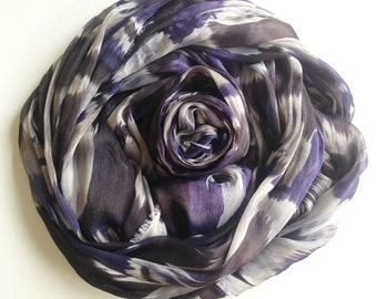 Violet Mable Chiffon Fabric, Black Lilac and White Graphic Printed, Lady Scarf, Light weight blouse, Woman skirt, bag decoration, cf001