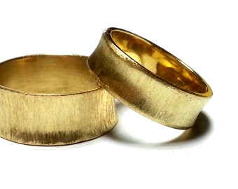 Wedding Ring Set His and Hers Wedding Bands Promise Rings Gold Rings Unique Wedding Bands For Her - For Him Tongsten rings Textured rings