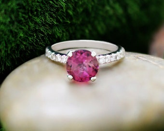 Pink Tourmaline and Diamond Solitaire Engagement <Prong> Solid 14K White Gold (14KW) Wedding Ring *Fine Jewelry* (Free Shipping)