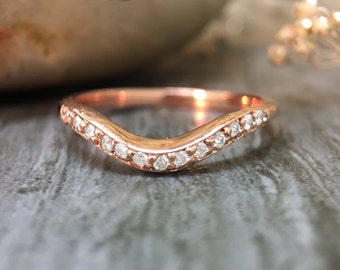 2.2MM Diamond Wavy Wedding Band | Pave Setting | Solid 14K Gold | Stackable Women's Ring | Fine Jewelry | Free Shipping