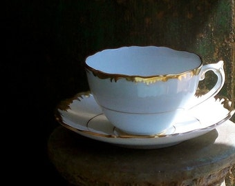 Vintage Coalport Tea Cup and Saucer, England, Hand Painted Gold and White, Fine China, Admiral Teacup, Dinnerware, Cottage Decor