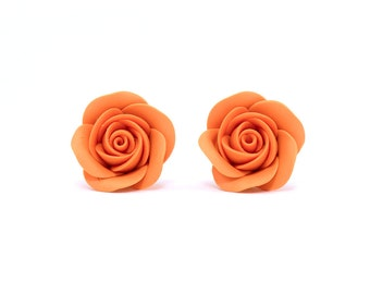 Floral ear studs • Fashion jewelry • Floral Earrings •Jewelers • Orange earrings • Rustic wedding • Floral jewelry • Floral stud earrings