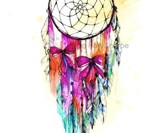 Dreamcatcher illustration // signed Giclée print from original watercolor- by Holly Sharpe