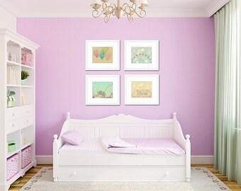 Toddler girl room, carnival art set of 4 prints, Pastel wall art, ferris wheel art, carnival wall art, girl nursery art, pastel nursery art